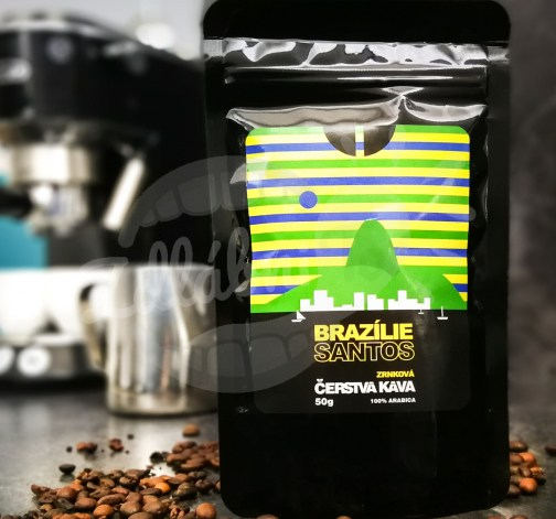 Čerstvá káva Brazílie Santos, zrnková, 50 g