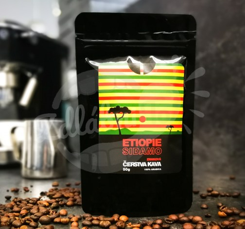 Čerstvá káva Etiopie Sidamo, zrnková, 50 g