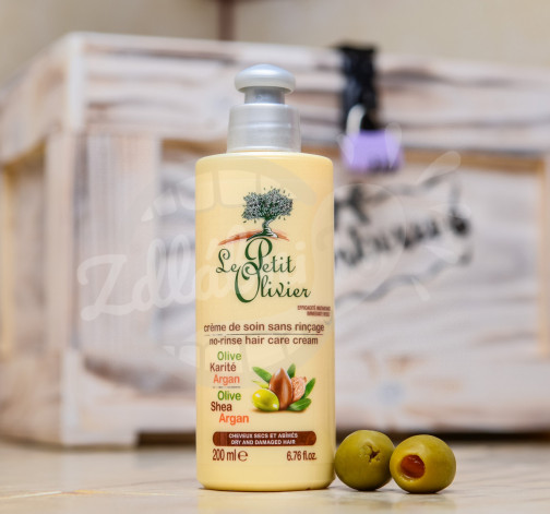 Le Petit Olivier - bezoplachový pečující krém na vlasy - oliva, bambucké máslo, arganový olej 200ml