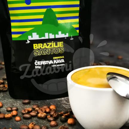 Čerstvá káva Brazílie Santos, zrnková