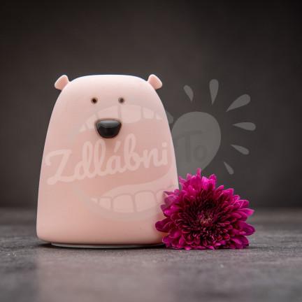 Dotyková růžová lampička ve tvaru medvídka