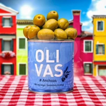 Olivas Anchoas - zelené olivy s ančovičkami 80g