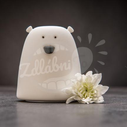 Dotyková bílá lampička ve tvaru medvídka